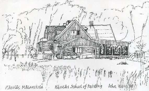 Hazelridge School of Painting - Hässlås Målarskola, view looking north-east. Original drawing by John Weiss, 1986.